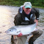 A big Lakselva (Norway) salmon (38lbs) which took a size 9 fly fished on a floating line