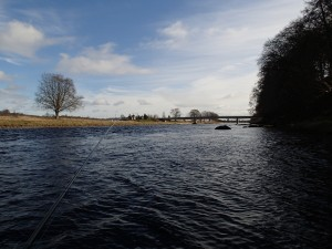 Looking downstream to the Wee Bargie Stone